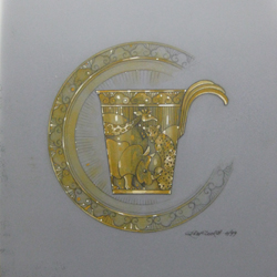 Design for 18 carat gold cup and saucer depicting African animals. Gouache on drafting film.