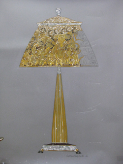 Design for the year of the Chinese Ox stand and lampshade. The stand is approx 3' high and is designed with 18 carat gold, diamonds, mother of pearl and obsidian. It supports a plique azure enamel, diamond and mother of pearl shade. Gouache on drafting film.