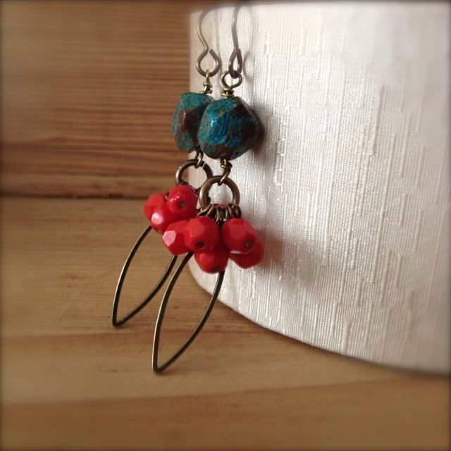 jasper and red bead earrings